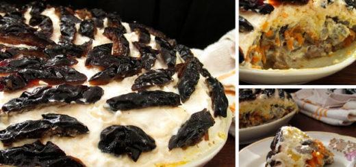 Изумительно вкусный слоеный салат с печенью, грибами,черносливом (и без майонеза!)