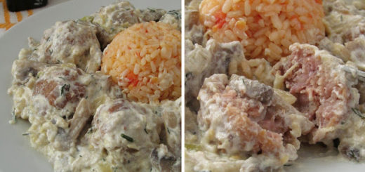 Мясные фрикадельки в баклажанном соусе с грибами