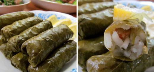 Долмадес - греческая долма из виноградных листьев с рисом (Ντολμάδες)