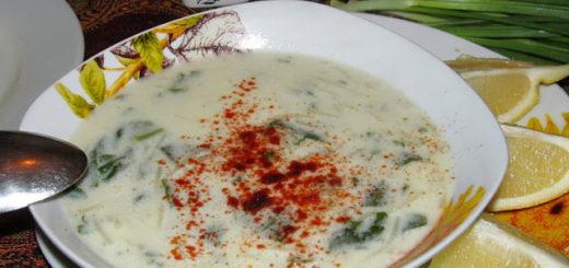 Суп со шпинатом, йогуртом и вермишелью (Ispanaklı Yoğurt Çorbası)