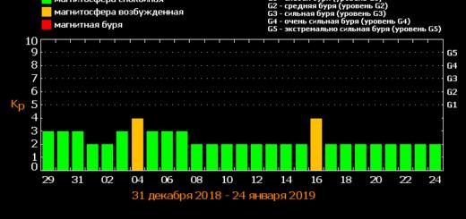 Магнитные бури в январе 2019 года: прогноз на месяц