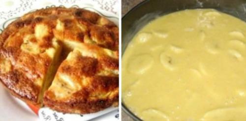 Заливной пирог с бананами на скорую руку - это же сама нежность!